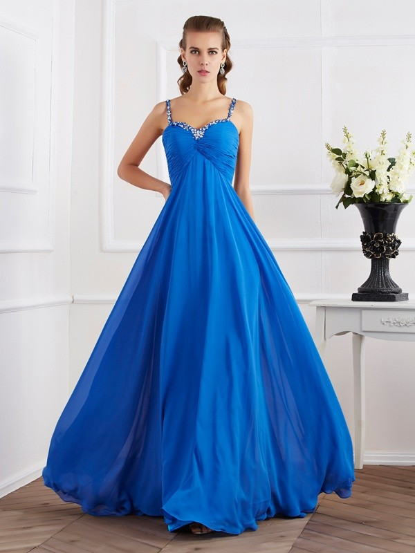 A-Line/Princess Spaghetti Straps Applique Long Chiffon Dresses