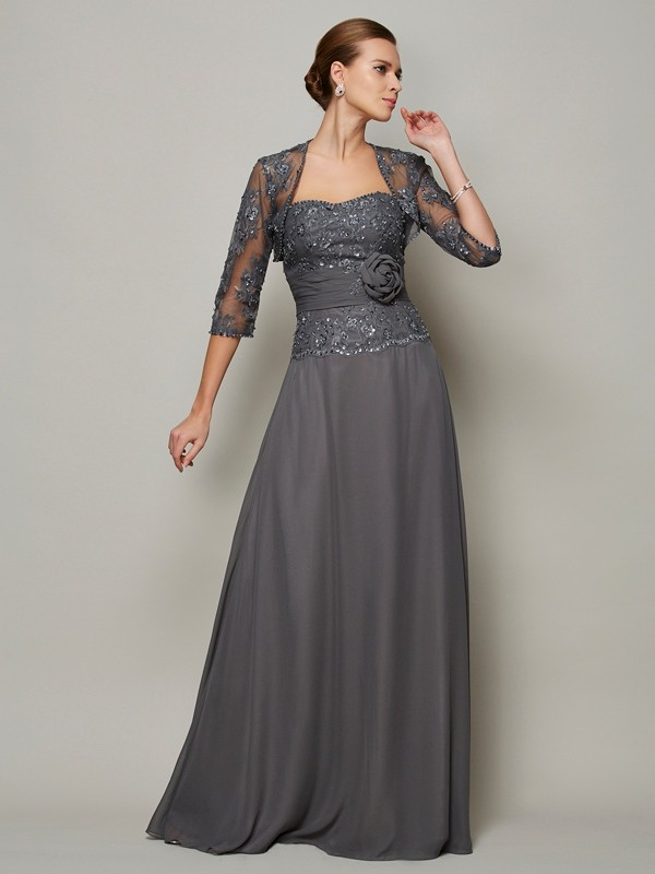 A-Line/Princess Chiffon Sleeveless Sweetheart Applique Long Mother Of The Bride Dresses