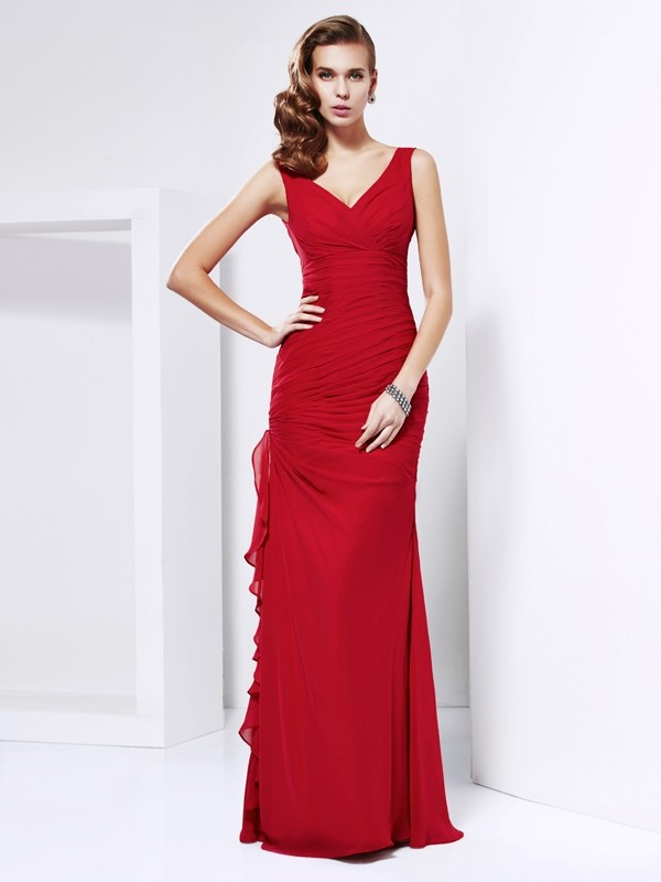 Sheath/Column Chiffon Floor-Length V-neck Dresses