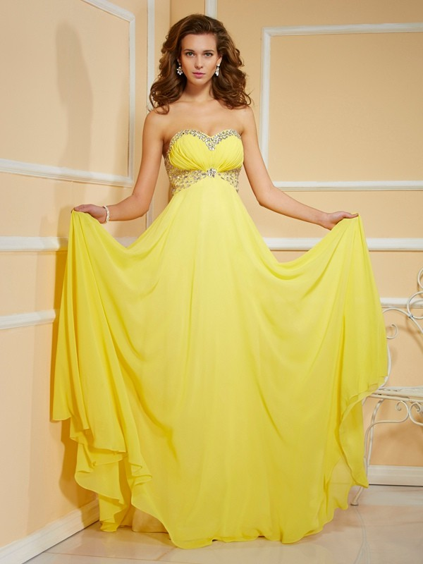 Sheath/Column Sweetheart Rhinestone Floor-Length Chiffon Dresses