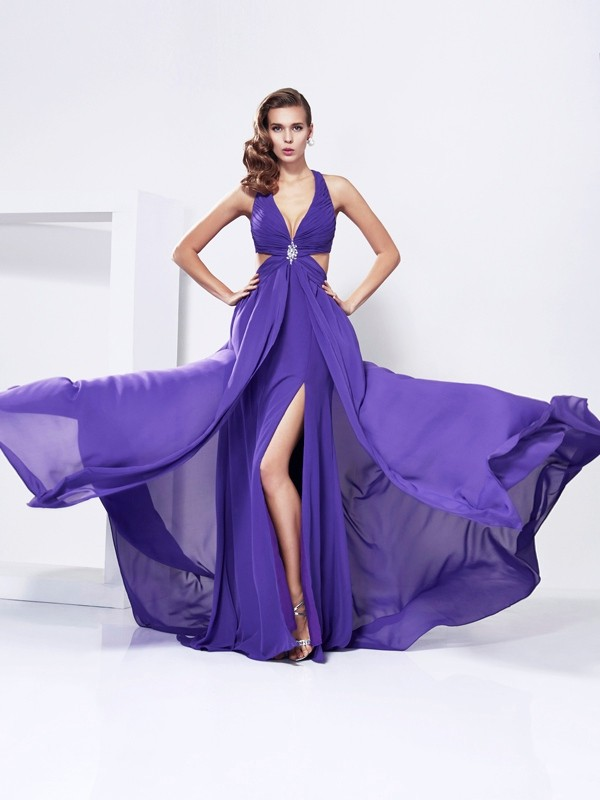 A-Line/Princess V-Neck Sleeveless Chiffon Sweep/Brush Train Dresses