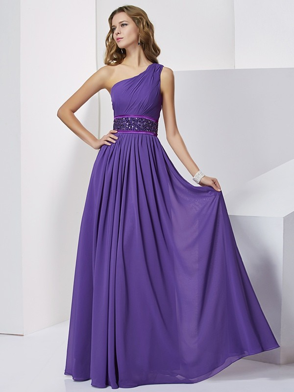 Empire Sleeveless One-Shoulder Beading Long Chiffon Dresses