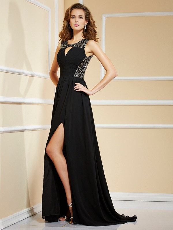 A-line/Princess Chiffon Sleeveless High Neck Paillette Sweep/Brush Train Dresses