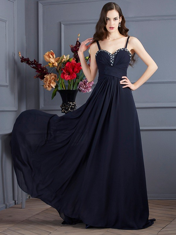 A-Line Spaghetti Straps Sleeveless Beading Chiffon Sweep/Brush Train Dresses
