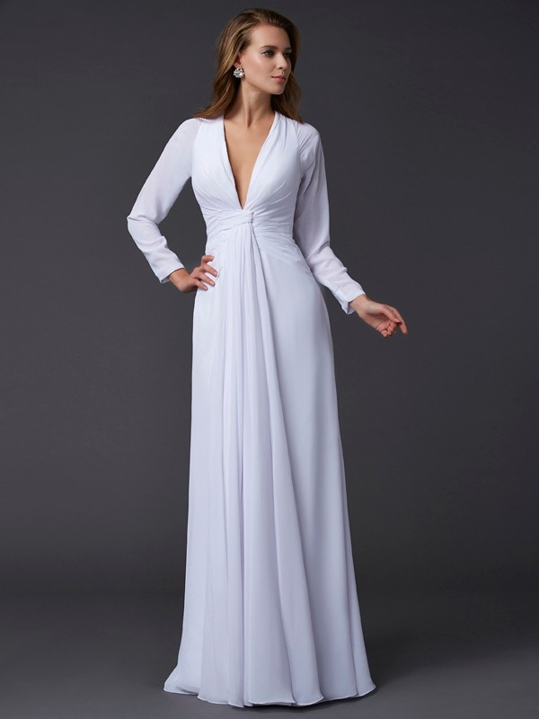 Sheath/Column Long Sleeves V-neck Ruched Long Chiffon Dresses