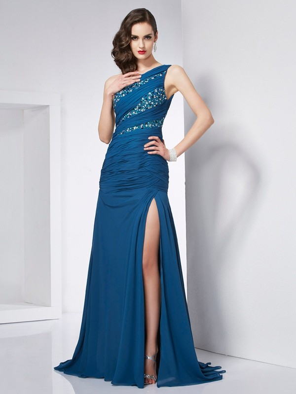 Princess One-Shoulder Sleeveless Beading Chiffon Sweep/Brush Train Dresses