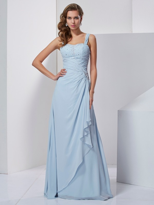 A-Line/Princess Beading Straps Sleeveless Long Chiffon Dresses
