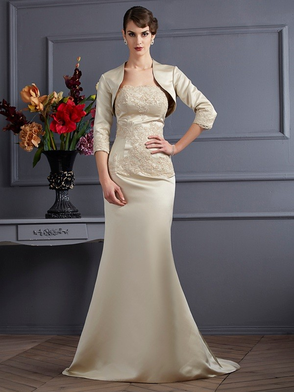 Trumpet/Mermaid Strapless Sleeveless Applique Satin Mother of the Bride Dresses