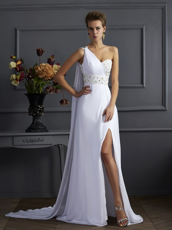 One-Shoulder Sleeveless Chiffon Beading Sweep/Brush Train Dresses