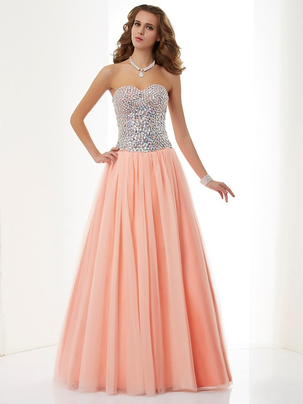A-Line/Princess Sweetheart Sleeveless Floor-Length Beading Elastic Woven Satin Dress