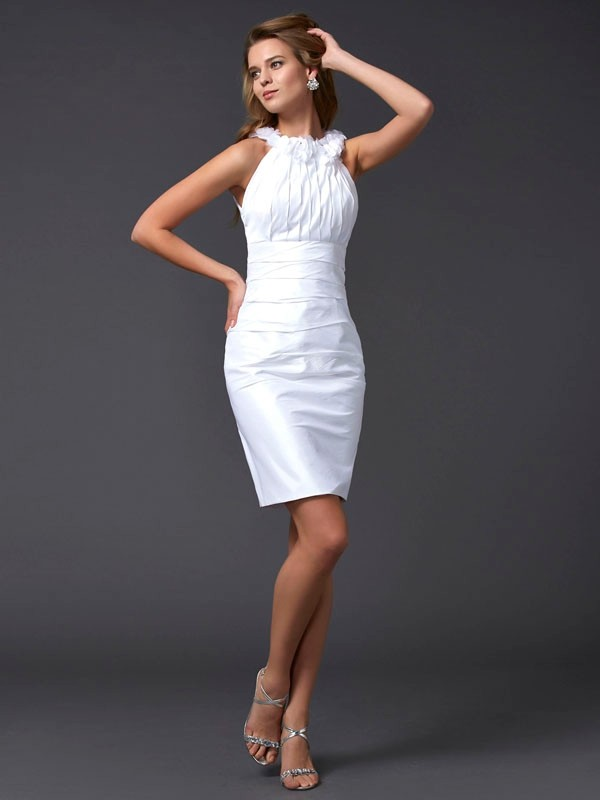 Sheath/Column Hand-Made Flower Sleeveless Taffeta High Neck Short/Mini Dresses
