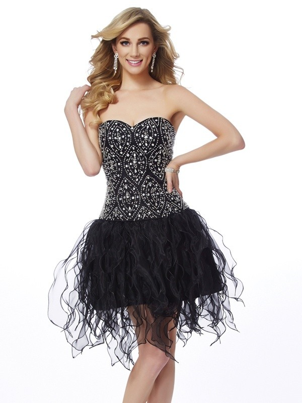 Sheath/Column Sweetheart Sleeveless Beading Short/Mini Organza Dress