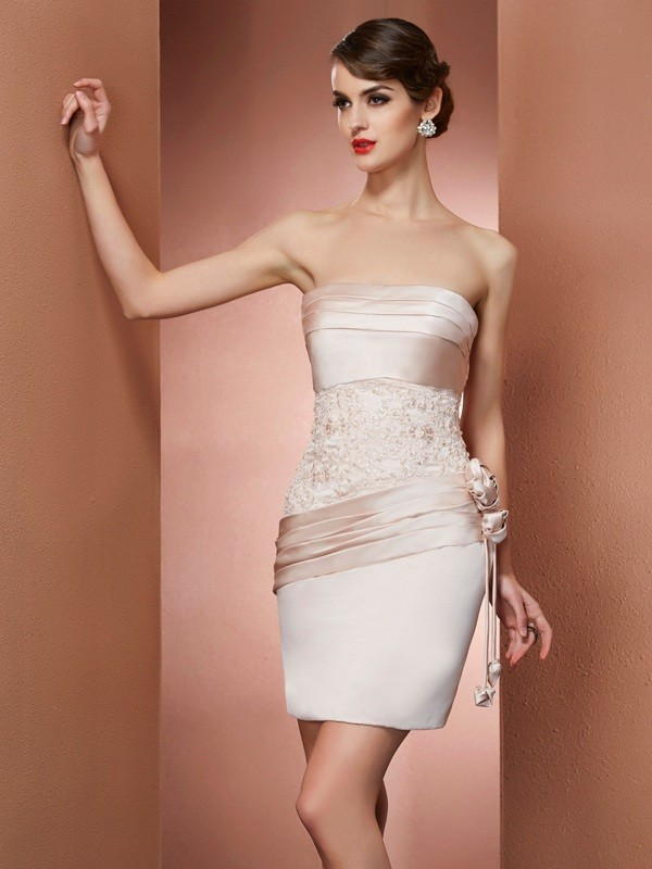 Sheath/Column Strapless Sleeveless Hand-Made Flower Satin Short/Mini Dress