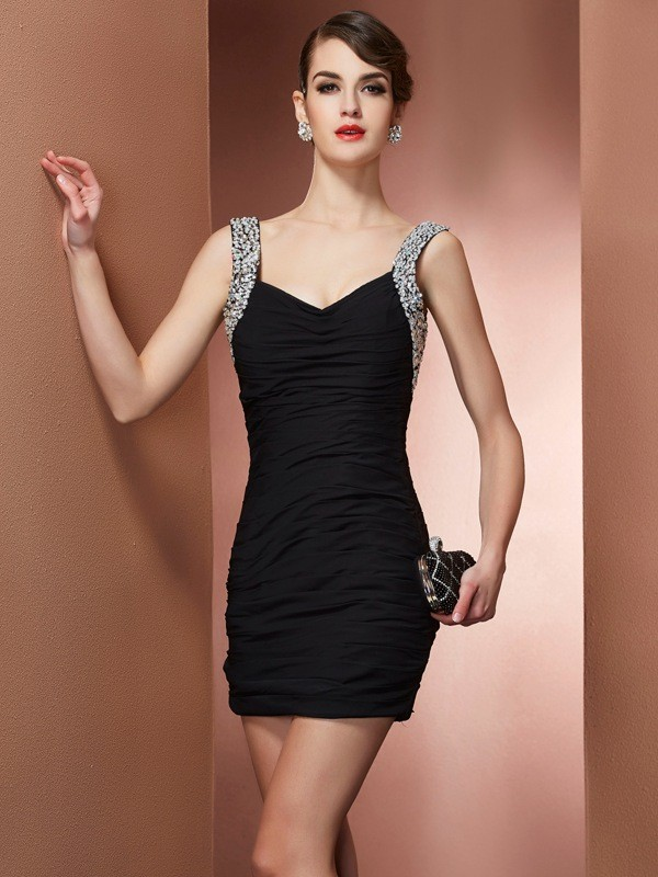 Straps Sleeveless Beading Short/Mini Chiffon Dresses