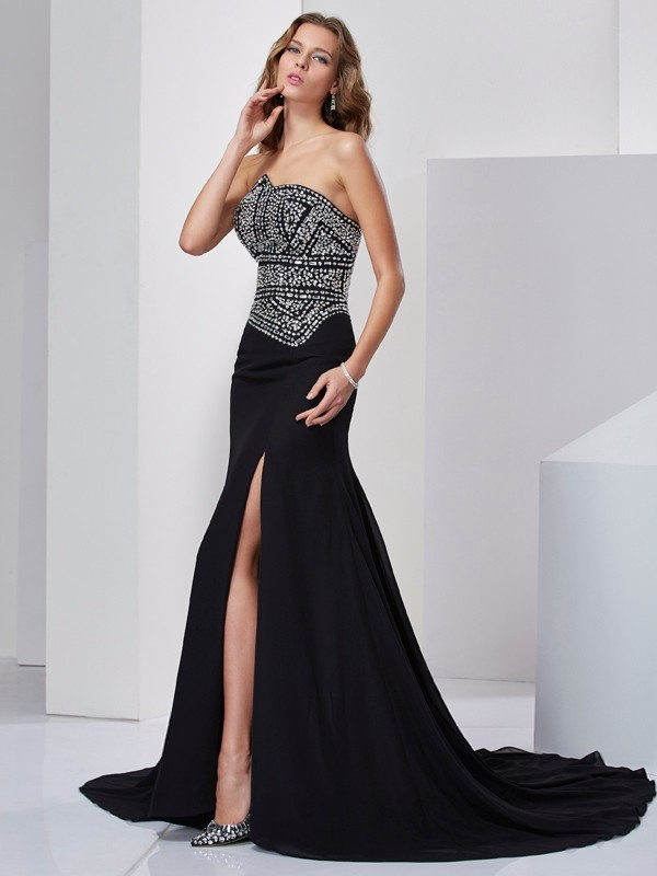 Strapless Sleeveless Beading Chiffon Sweep/Brush Train Dresses