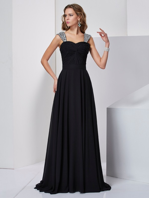 Straps Sleeveless Beading Sweep/Brush Train Chiffon Dresses