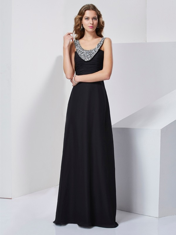 A-Line/Princess Beading Scoop Sleeveless Chiffon Floor-Length Dress