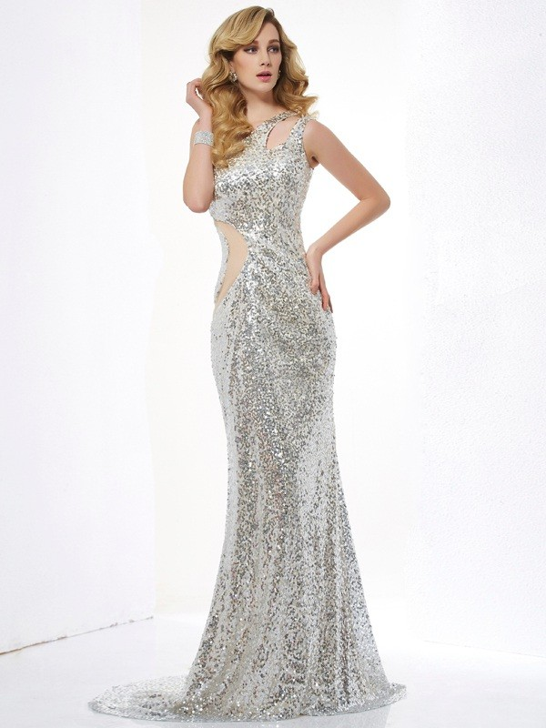 Trumpet/Mermaid Sleeveless One-Shoulder Sequins Lace Sweep/Brush Train Dress