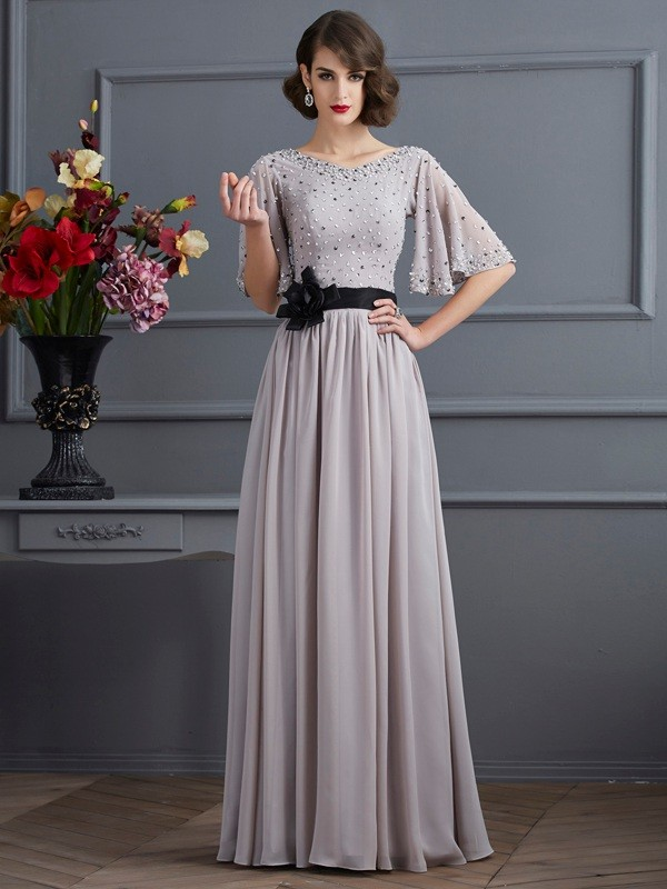 A-Line/Princess High Neck 1/2 Sleeves Beading Chiffon Floor-Length Dress