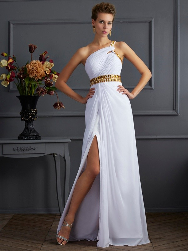 A-Line One-Shoulder Beading Floor-Length Chiffon Dress