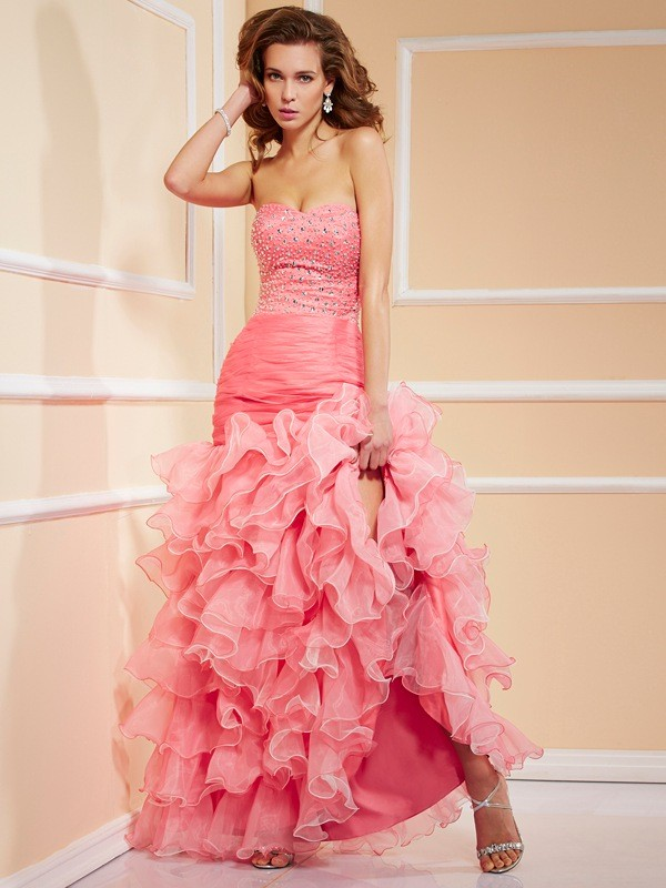 Trumpet/Mermaid Sweetheart Sleeveless Beading Asymmetrical Organza Dress
