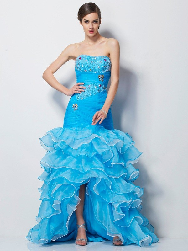 Trumpet/Mermaid Sweetheart Sleeveless Beading Tulle Asymmetrical Dresses