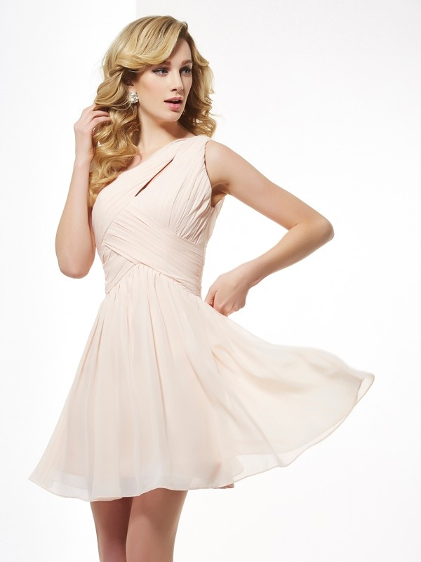 A-Line Sleeveless One-Shoulder Pleats Short/Mini Chiffon Dresses