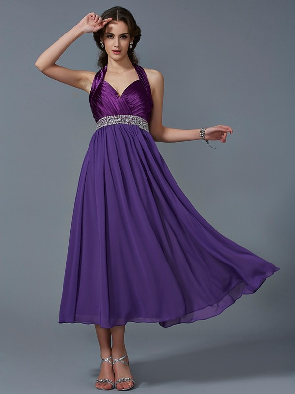 A-Line/Princess Halter Sleeveless Beading Ankle-Length Chiffon Dress