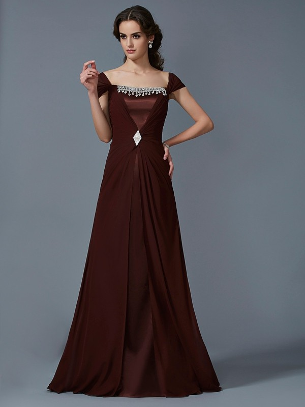 A-Line Strapless Short Sleeves Floor-Length Chiffon Dresses