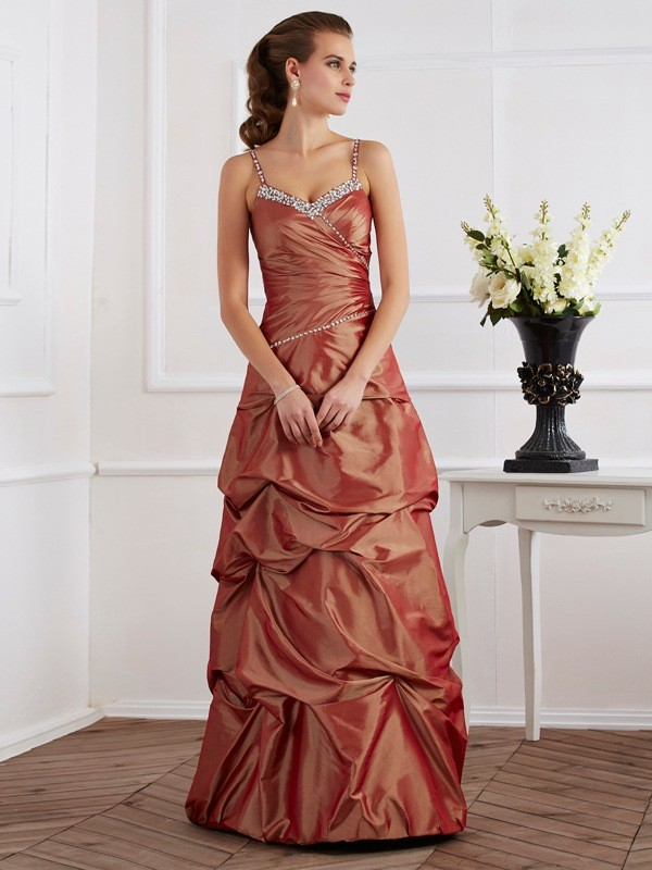 Sheath/Column Beading Spaghetti Straps Sleeveless Taffeta Floor-Length Dresses