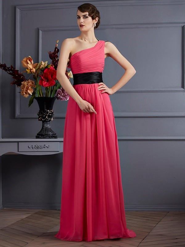 A-Line/Princess Sleeveless Pleats One-Shoulder Chiffon Sweep/Brush Train Dress