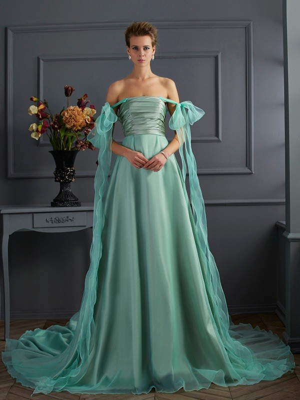 A-Line Off-the-Shoulder Sleeveless Chapel Train Taffeta Dresses