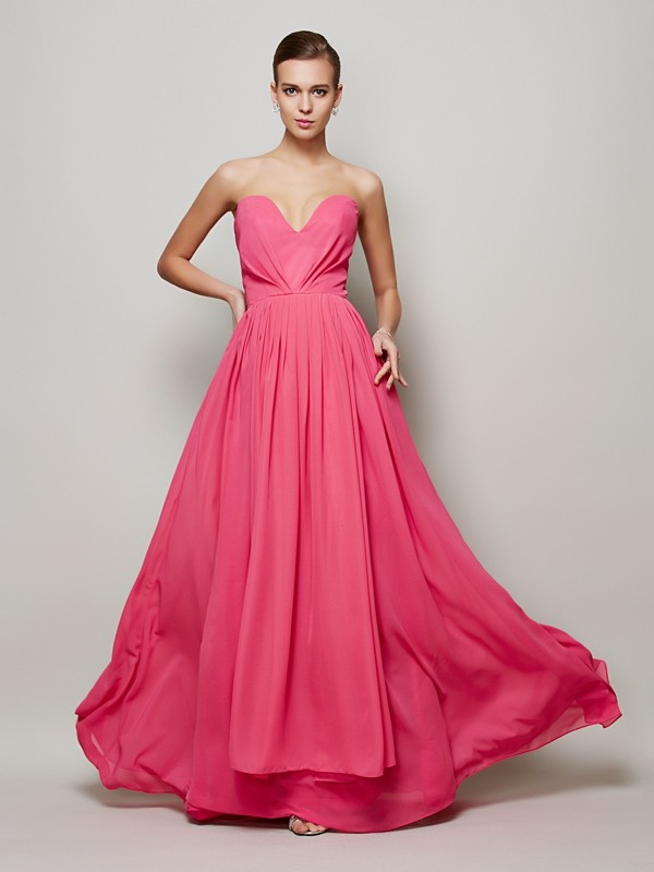 A-Line Sweetheart Pleats Floor-Length Sleeveless Chiffon Dresses