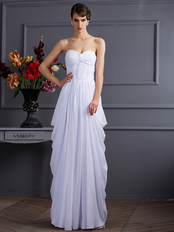 Sheath Pleats Sleeveless Chiffon Sweetheart Floor-Length Dresses