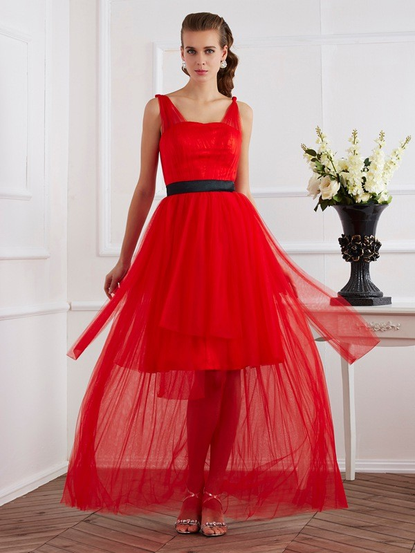 A-Line/Princess Straps Pleats Sleeveless Ankle-Length Elastic Woven Satin Dresses