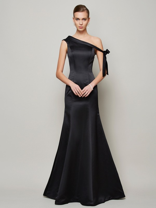 Trumpet/Mermaid One-Shoulder Sleeveless Bowknot Floor-Length Satin Dress