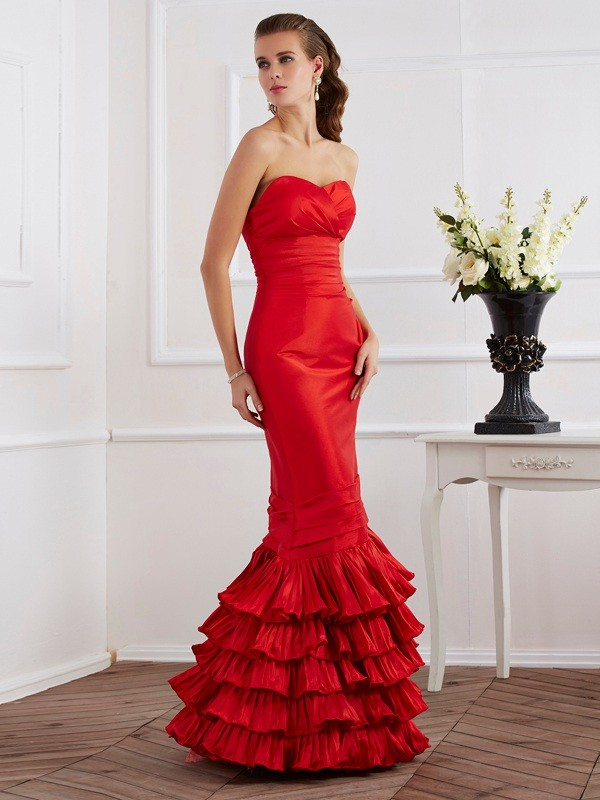 Mermaid Sleeveless Sweetheart Ruffles Floor-Length Taffeta Dresses
