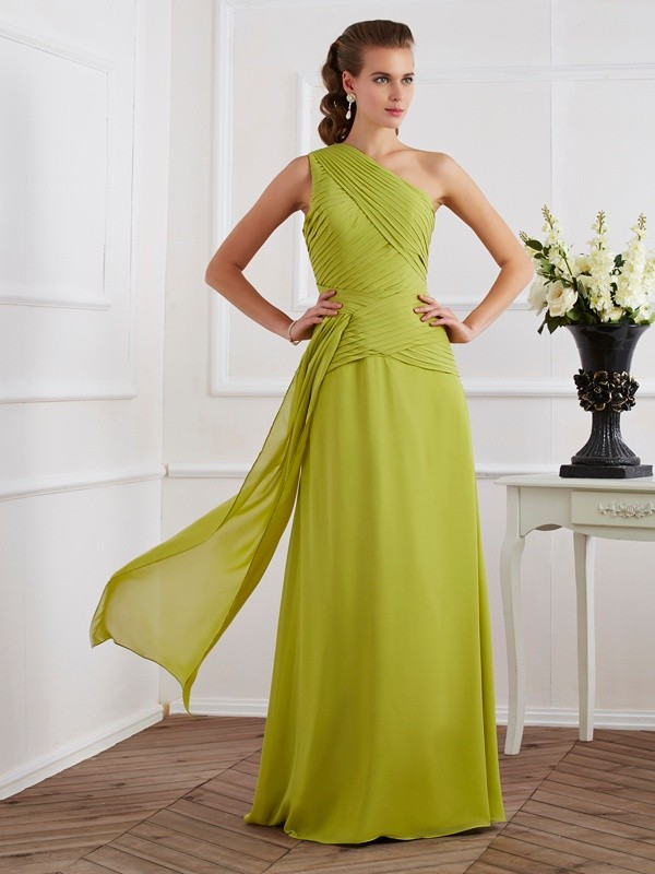 Sleeveless One-Shoulder Pleats Floor-Length Chiffon Dresses