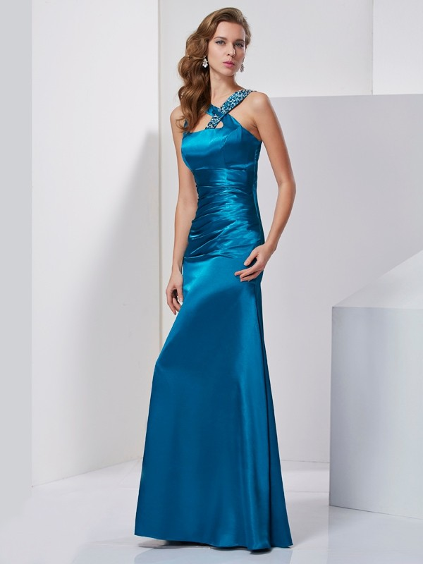 Sheath/Column Straps Silk like Satin Sleeveless Beading Floor-Length Dresses