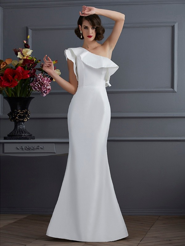 Trumpet/Mermaid One-Shoulder Sleeveless Ruffles Taffeta Floor-Length Dress