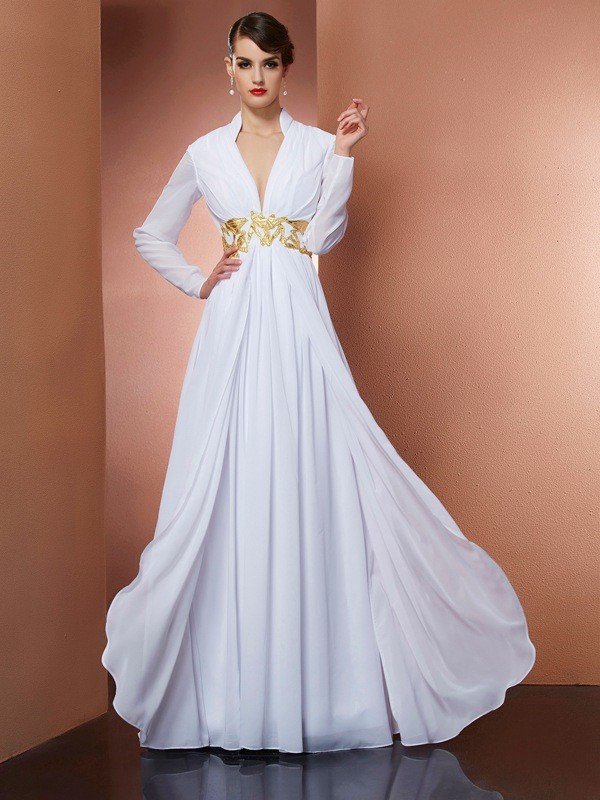 Princess V-neck Long Sleeves Floor-Length Chiffon Dress