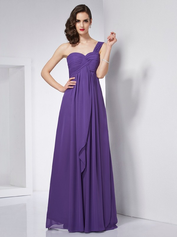 A-Line/Princess One-Shoulder Sleeveless Pleats Floor-Length Dress