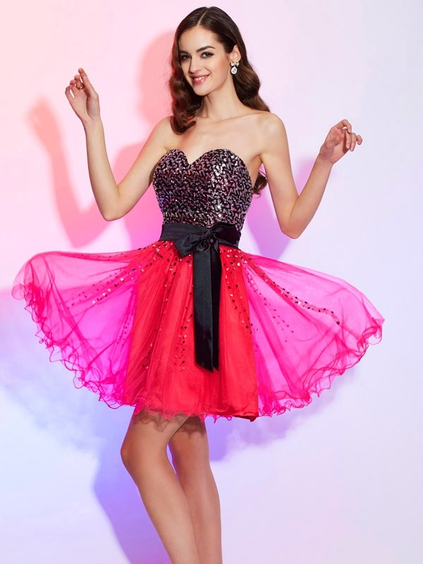 A-Line/Princess Sweetheart Sleeveless Short/Mini Organza Dress
