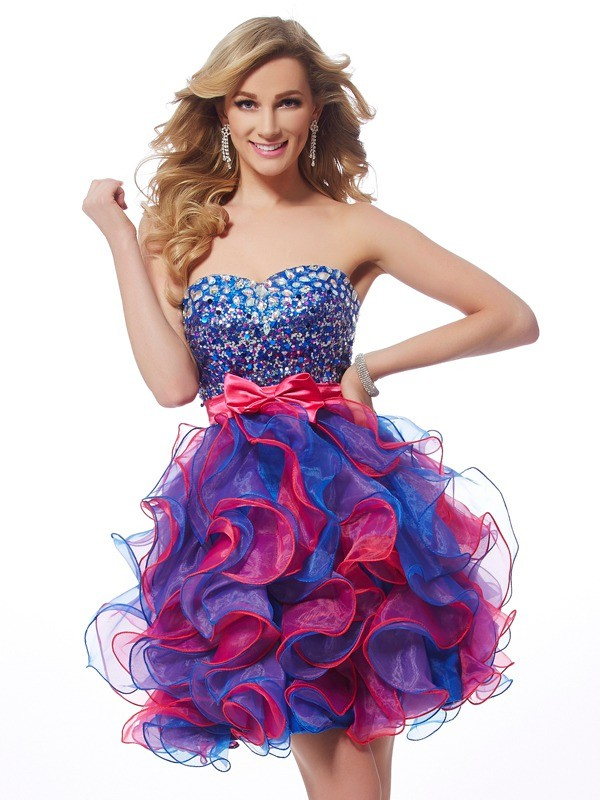 A-Line/Princess Sweetheart Sleeveless Short/Mini Organza Sequin Dress
