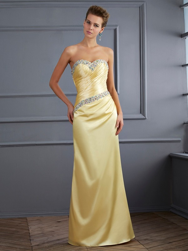 Trumpet/Mermaid Sweetheart Sleeveless Floor-Length Elastic Woven Satin Dress