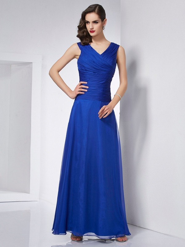 A-Line/Princess V-neck Sleeveless Pleats Ankle-Length Chiffon Dress