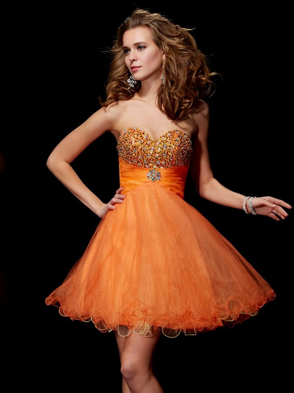 A-Line/Princess Strapless Beading Sweetheart Organza Satin Short/Mini Dress