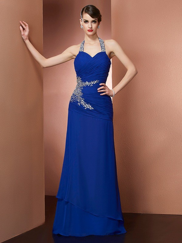 Sheath/Column Halter Sleeveless Beading Chiffon Floor-Length Dress