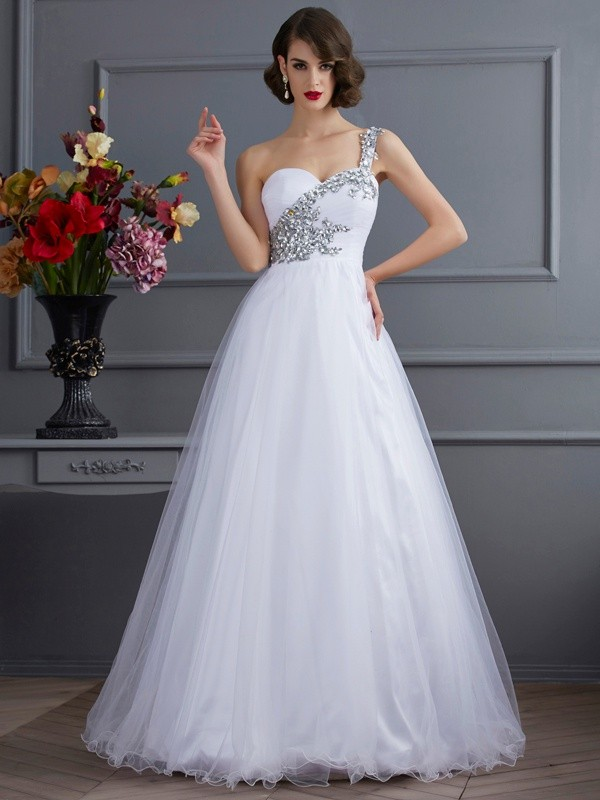 Ball Gown One-Shoulder Sleeveless Beading Floor-length Elastic Woven Satin Beading Dress