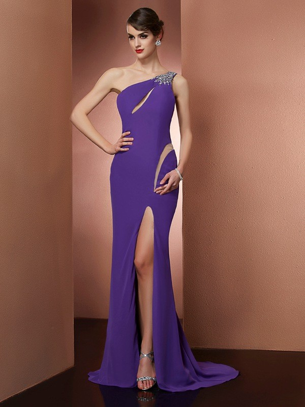 One-Shoulder Sleeveless Beading Sweep/Brush Train Chiffon Dress